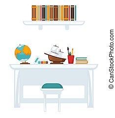 tafel, opleiding, uitrusting