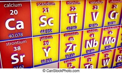 tafel, periodiek, element., 3d