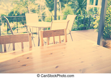 tafel, restaurant, gefiltreerd, (, beeld, effect., verwerkt, hout, ), ouderwetse