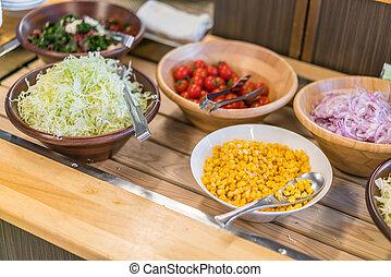 tafel, salades, buffet, restaurant