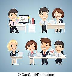 tafel, set, managers, spotprent, karakters