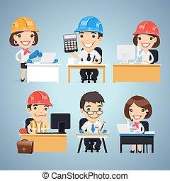 tafel, set, spotprent, karakters, ingenieurs