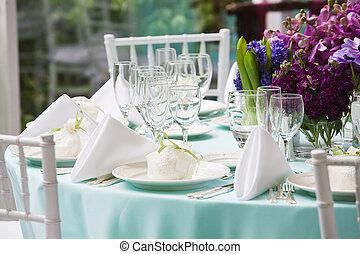 tafel, set, vin, trouwfeest