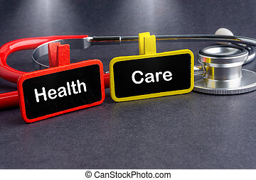 tafel, sorgfalt, wort, stethoskop, medizinprodukt, concept., gesundheit, care.