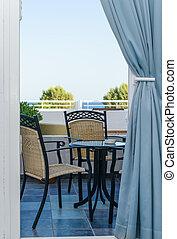 tafel, stoel, op, de, veranda