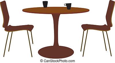 tafel, stoel, set