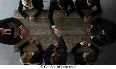 tafel, team, zakelijk, zittende