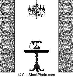 tafel, telefoon, kroonluchter