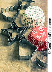 tafel, tijd, kerstmis, zoetigheden