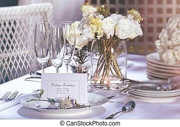 tafel, trouwfeest, buiten, kaart, uitnodiging