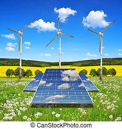 tafel, turbinen, wind, sonnenkollektoren