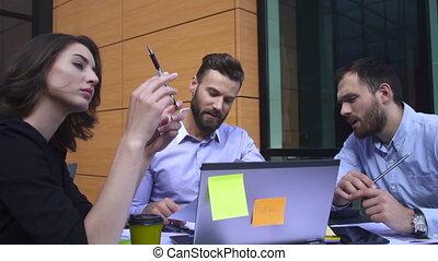 tafel, tussen, vergadering, zakenlui