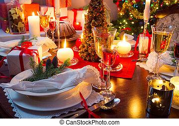 tafel, verfraaide, specially, kerstmis