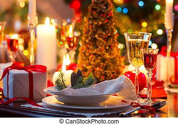 tafel, verfraaide, traditionally, kerstmis