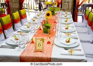 tafel, verfraaide, trouwfeest