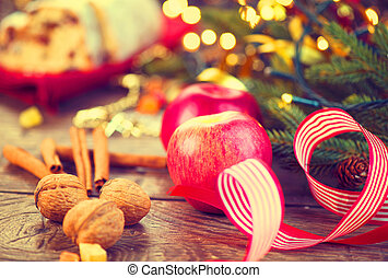tafel, verfraaide, vakantie, vatting, kerstmis