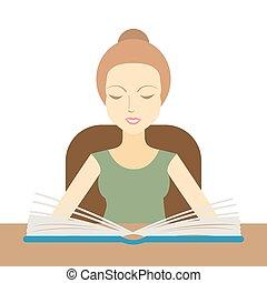 tafel, vrouw, boek, lezende