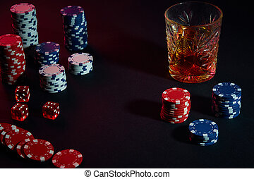 tafel., wijntje, cognac, pook, glas, frites, donker, ...