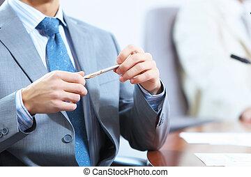tafel, zakenman, het leggen, handen