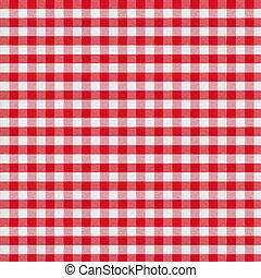 tafelkleed, checkered, weefsel, rood