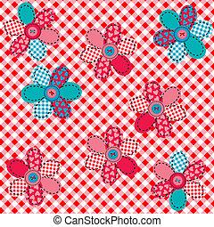tafelkleed, met, bloemen, gemaakt, van, naaiwerk, patches,...