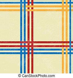 tafelkleed, rood, en blauw, gele, lijnen, -, vector,...
