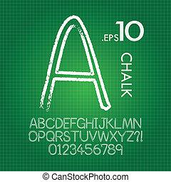 tafelkreide, alphabet, linie, vektor, zahlen