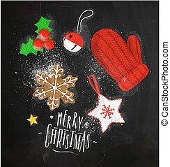 tafelkreide, elemente, weihnachten, handschuh