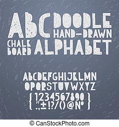 tafelkreide, hand, ziehen, gekritzel, abc, alphabet, grunge, kratzer, art, schriftart, vektor, abbildung