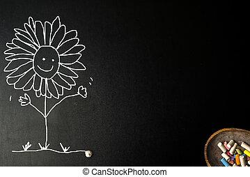 tafelkreide, lustiges, Sonnenblumen, Zeichnung, Karte