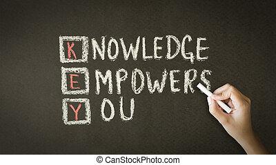 tafelkreide, sie, empowers, kenntnis, abbildung