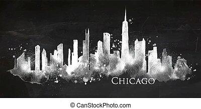 tafelkreide, silhouette, chicago