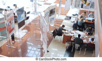 tafels, groep, kantoor, zittende , houten, werkmannen , time., arbeid, dag