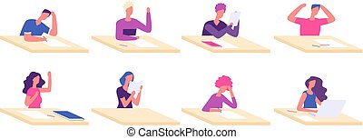 tafels, school student, jongen, examen, zittende , jonge tieners, voorbereiding, vector, universiteit, pupil, karakters, bureau, test, desks., meisje