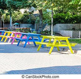 tafels, straat, picknick, kleurrijke, cobblestone