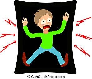 Tafofobia concept, cartoon illustration