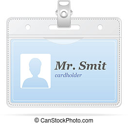 Tag Badge Holder isolated on white and card
