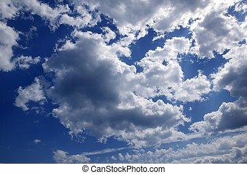 tag, blaues, sonnig, himmelsgewölbe, wolkenhimmel, schöne , weißes