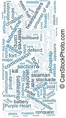 Tag cloud concept. Collage illustration. Terms - military. ...