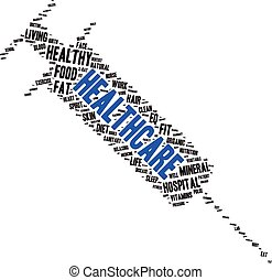 tag cloud containing words related to healthy lifestyle