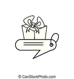 tag commercial with gift box isolated icon
