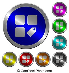 Tag component luminous coin-like round color buttons
