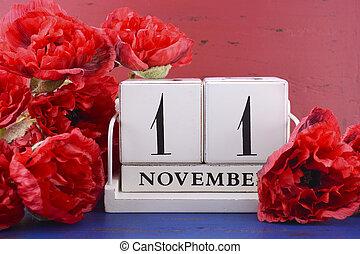tag, erinnern, kalender, veteranen, waffenstillstand