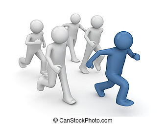 Tag game runners, business oportunities - 3d isolated...