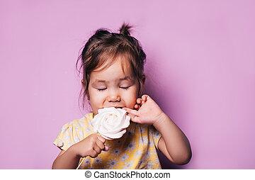 tag, geschenk, süßigkeiten, wenig, ißt, hintergrund, m�dchen, schöne , meringe, märz, zärtlich, mutter, 8, geburstag, rosa, s