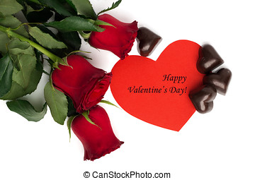 Tag Happy Valentine's Day with bouquet of red roses, red paper heart and candies in a shape of a heart isolated on white background