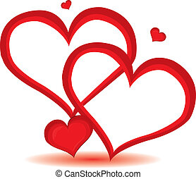 tag, herz, valentine, vektor, hintergrund., rotes , illustration.