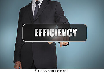 tag, homem negócios, tocar, pretas, eficiência, palavra, escrito