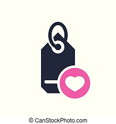 Tag icon, business icon with heart sign. Tag icon and favorite, like, love, care symbol