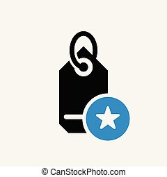 Tag icon, business icon with star sign. Tag icon and best, favorite, rating symbol